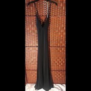 Long black back out dress